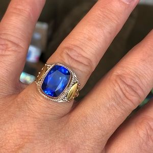 Jewelry - Blue Quartz Two-Tone Sterling Silver Ring Sz 8